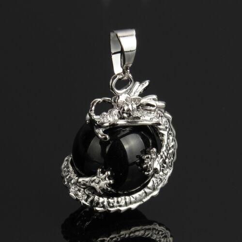 Black Agate Dragon Ball Claw Wrap Necklace Pendant Healing Chakra Reiki Pendulum