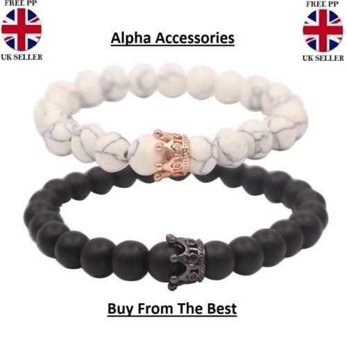 Distance Couple Bracelet with CZ Crown King/&Queen Black Matte Agate /& White 2PC