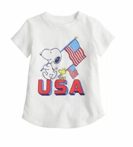 BOYS SIZE 24 MONTHS JUMPING BEANS BLUE SNOOPY AMERICANA TSHIRT NEW #14635