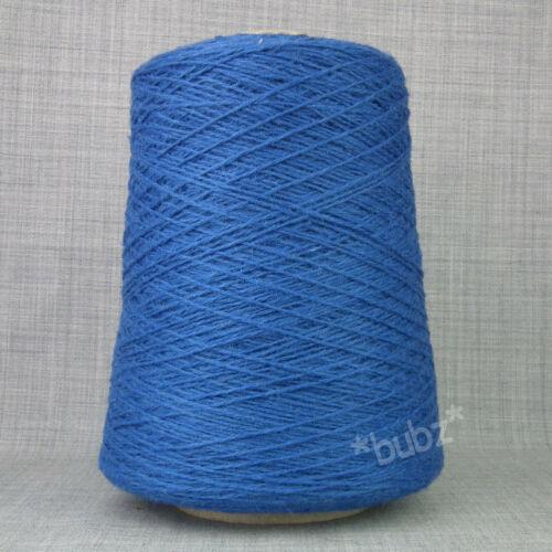 PUR SHETLAND LAINE 4 Plis Fil Bleu Cobalt 250 G Cône main machine à tricoter Bright