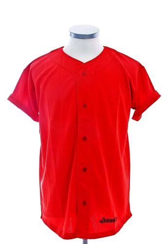 SCARCEWEAR DA UOMO TINTA UNITA ROSSO Baseball Jersey Bottoni Maglia Top Taglia XS A 4xl