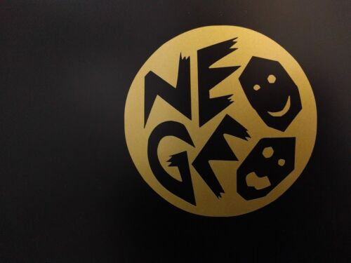 2 pack Round NEOGEO Neo GEO NEO.GEO Gloss Gold Met. Vinyl Decal Sticker 4 x 4