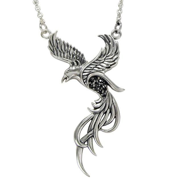 Sterling Silver Phoenix Pendant 18 inch Necklace Black Crystals Alchemy Bird