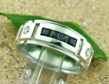 0.65 CT MENS men's SAPPHIRE & DIAMOND RING  white gold 14k  8.00 GRAMS made USA