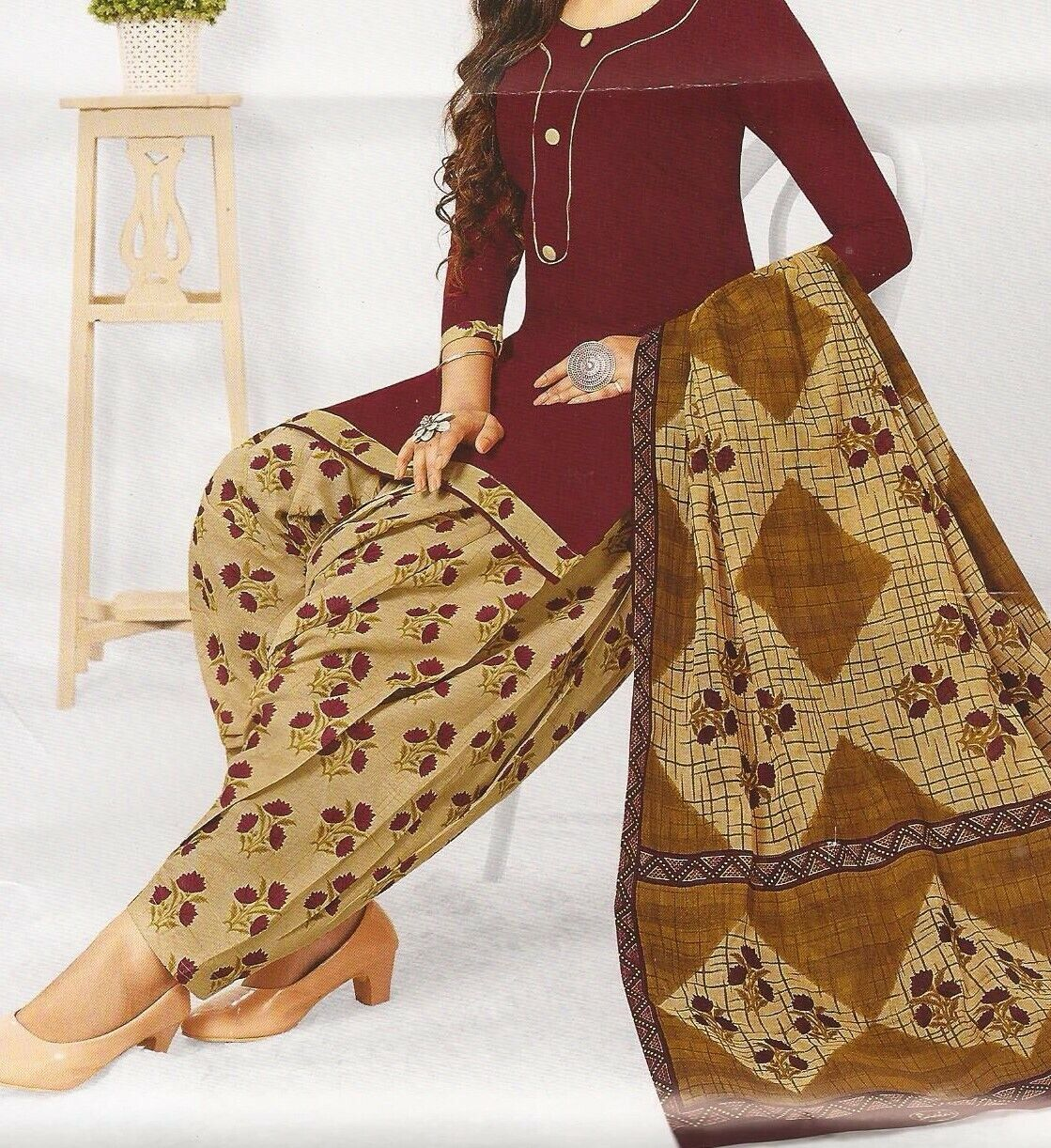 ladies cotton printed fabric shalwar kameez Indian designer suit **unstitched**