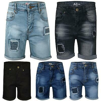 143fa9c27d54 Details about Kids Boys Shorts Denim Ripped Chino Bermuda Jeans Short Knee  Length Age 5-13 Yr