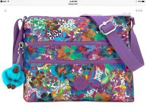 Kipling-Alvar-HB6141-Messenger-Purse-Bag-Aloha-Grove-purple-NWT