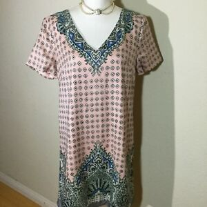 Ann-Taylor-Womens-Size-Small-Short-Sleeves-V-Neck-Career-Shift-Dress-Multicolor