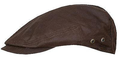 Stetson Flatcap Hat Cap Adin Waxed Cotton 62 Brown Waxed Cotton New