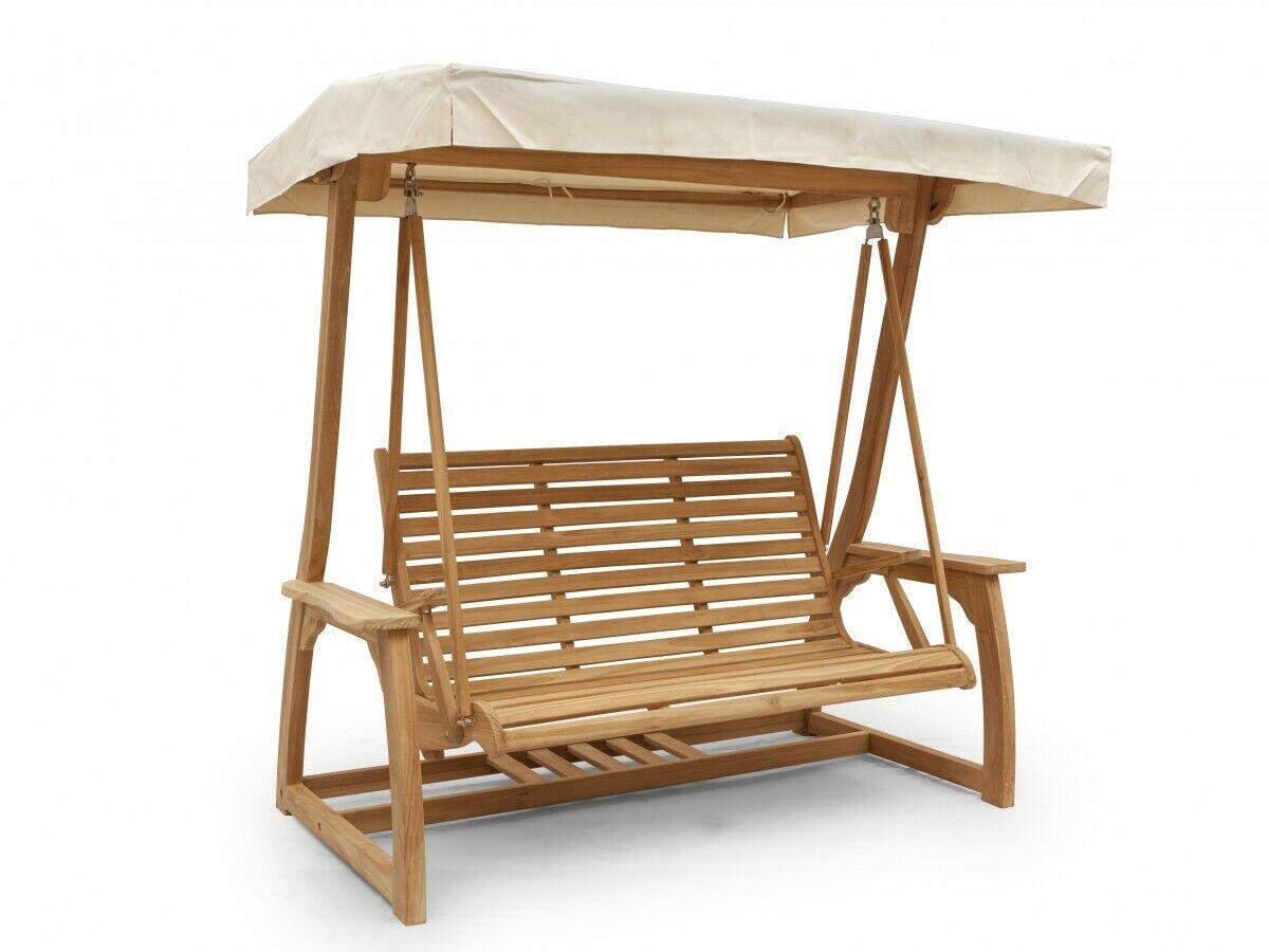 Hollywoodschaukel Holz max.400kg 3Sitzer Gartenschaukel Dach grau Schaukel