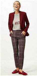 Nouveau-Ex-m-amp-s-Femmes-Plum-Pink-Tartan-Carreaux-Cheville-Brouteur-Pantalon-Taille-6-24
