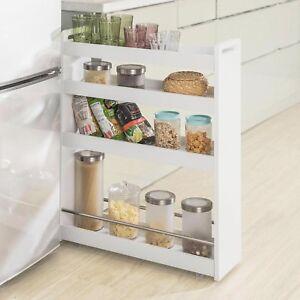 Details zu SoBuy Nischenregal mit 4 Etagen,Küchenregal mit  Rollen,Badrollwagen,Weiß,NSR01-W