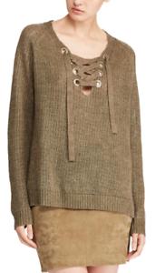 Polo Ralph Lauren Lace-Up Linen Sweater Size S MSRP  D 262 NEW