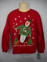 Holiday Party Men S Red Ugly Christmas Sweatshirt 40 Dancing Penguin E4