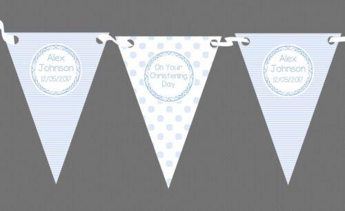 Boy Blue Stripes Spots Personalised Christening Baptism Bunting