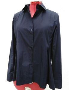 MARNI-Womens-PLEATED-COTTON-Long-Sleeve-Button-Front-Boxy-Swing-Top-NAVY-BLUE-42
