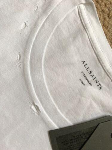 "ALL SAINTS OPTIC WHITE /""JEFRIS/"" S//S OVERSIZED CREW T-SHIRT TOP M L XL NEW TAGS"