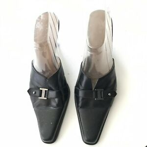 GAMA-Studio-Black-Mules-Made-In-Italy-Silver-Sz-10