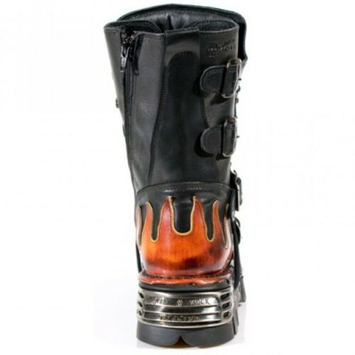 s1 Newrock cuero Skull Boots Devil Botas negras Red Rock de Biker New 107 Goth twZfnqrt4