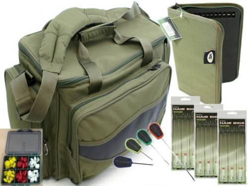 RIG WALLET 18 HAIR RIGS Green Carp Fishing Tackle Bag 4pc tools 60 Sweetcorn
