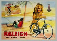 Raleigh Bike Lion Stealing Bicycle Vintage Poster Repro Free S/h In Usa