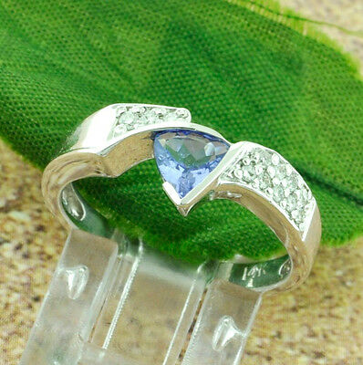 14k Solid White Gold Natural Diamond & AA Trillion Cut Tanzanite Ring 0.55 ct