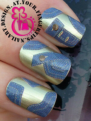 NAIL ART WRAP WATER STICKERS DECALS TRANSFERS DECORATION SET DENIM JEANS #440