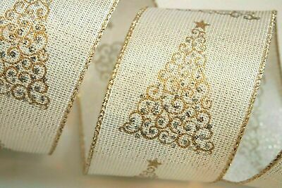 """IVORY GOLD WIRE EDGED RIBBON 1-1//2/"""" x 5 Yards Christmas"""