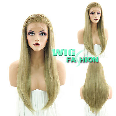 """24"""" Heat Resistant Long Straight Mixed Blonde Lace Front Wig"""