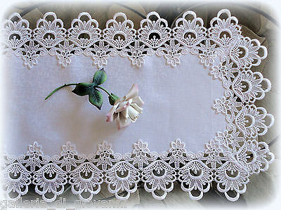 """Lace Table Runner Dresser Scarf DECADENT WHITE 36""""  Doily"""