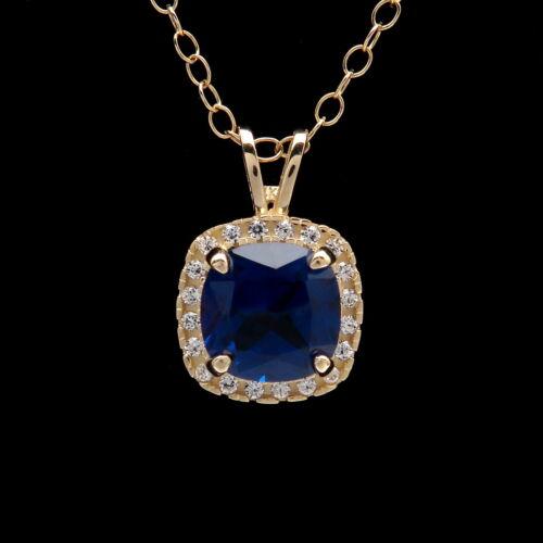 1.5CT Cushion Blue Sapphire Halo Created Diamond Pendant Solid 14k Yellow Gold