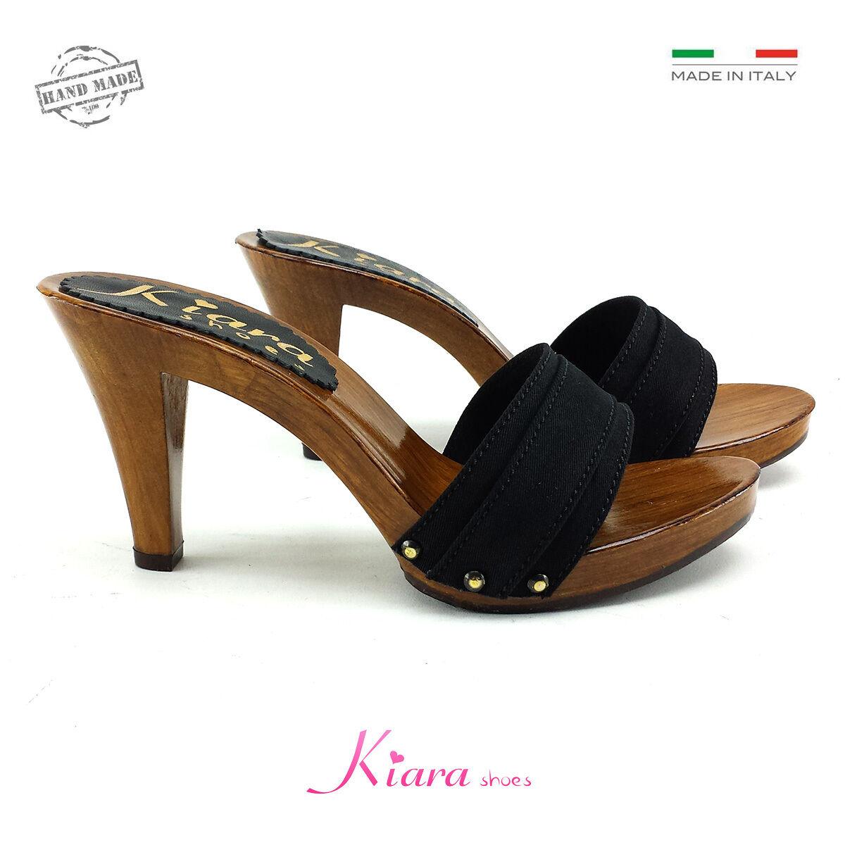 Clogs Black Made in  35-al 42 - Heel 9 cm-K6101 Black