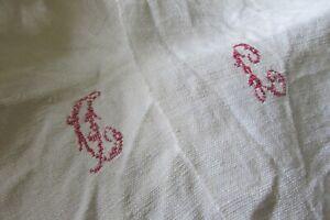 Antique-French-Slubby-Hand-Woven-Chanvre-Linen-Sheet-Fabric-Centre-Seam-c1840-5