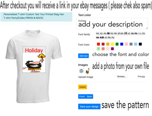 Personalised T-shirt Custom Printed Photo Image Any Text Hen Stag Party Holidays