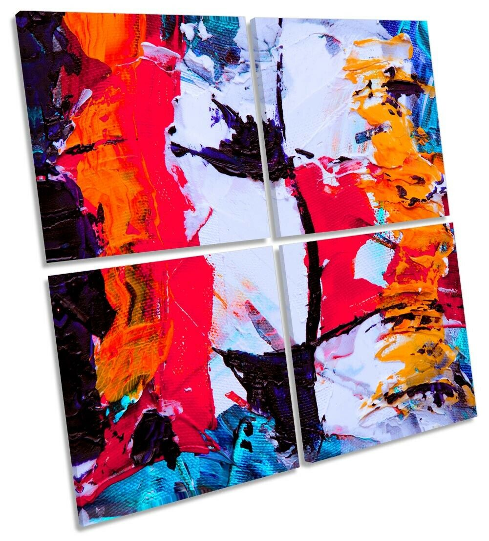 Abstract Industrial Grunge Print MULTI CANVAS WALL ART Square rot