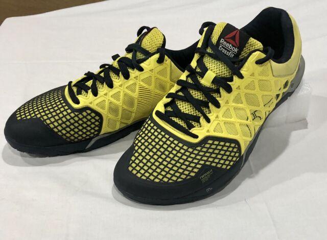 Reebok Crossfit CF74 Nano 4.0 Mens sz 10.5 Training Shoes Black Yellow Sneakers