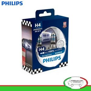 2-LAMPADE-H4-PHILIPS-RACING-VISION-12V-60-55W-150-DI-LUCE-12342RVS2