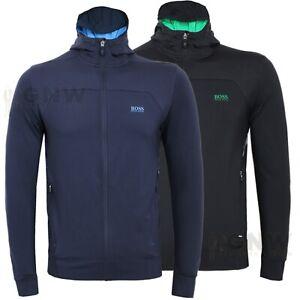 39e2bcbbb Hugo Boss Men 'SaggyTech' Full Zip Logo Stretchy Hoodie BOSS Green S ...