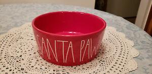 NEW-Rae-Dunn-Holiday-Pet-Bowl-Dog-Cat-SANTA-PAWS-8-034-Large-NEW-RED