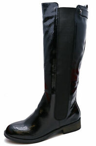 LADIES-BLACK-PATENT-STRETCH-ZIP-UP-KNEE-HIGH-TALL-RIDING-BOOTS-COMFY-SHOES-3-8
