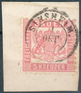 Baden-KL-Letter-Piece-Mi-no-18o-Double-Circle-Sinsheim-RARE-Beautiful