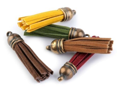 5 Stück Anhänger Quaste 48mm Anhänger Fransen messing antik Taschenanhänger