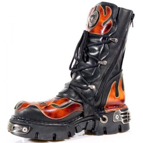 Newrock New Rock 107-S1 Rouge Crâne Devil Noir Bottes De Cuir Motard Goth Rock Boots