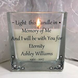 PERSONALISED  MEMORY CANDLE MEMORIAL LOVED ONE IN MEMORY REMEMBERANCE FUNERAL