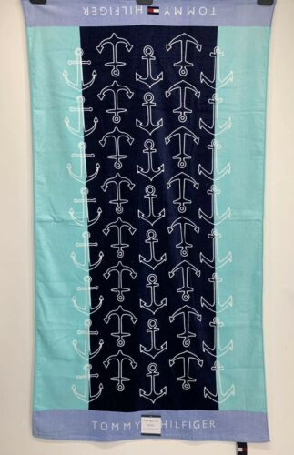 Tommy Hilfiger 35 x 66 Inch White /& Light Blue Anchors Pool Beach Towel Navy