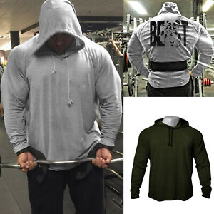 Men-039-s-GYM-Fitness-Bodybuilding-High-Quality-Back-Beast-Print-Hoodies-Sweatshirts