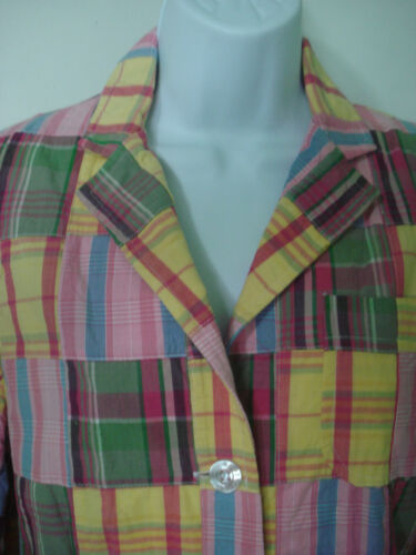 Cape Madras Preppy Plaid Pastel Blazer Jacket Size