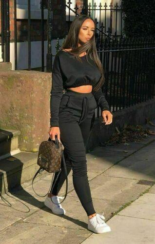 NEW Ladies Co ord Crop Top Bottoms Set Womens 2pcs Loungewear Suit Tracksuit