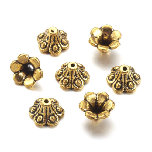 50pcs Tibetan Alloy Flower Bead Caps 6-Petal Antique Gold Carved Findings 10x6mm