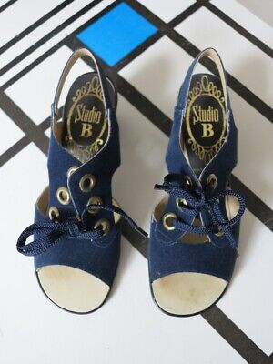 Razionale Scarpe Da Donna Sandali Blu Camoscio Tacco Alto Suede 70er True Vintage 70s Nos-mostra Il Titolo Originale